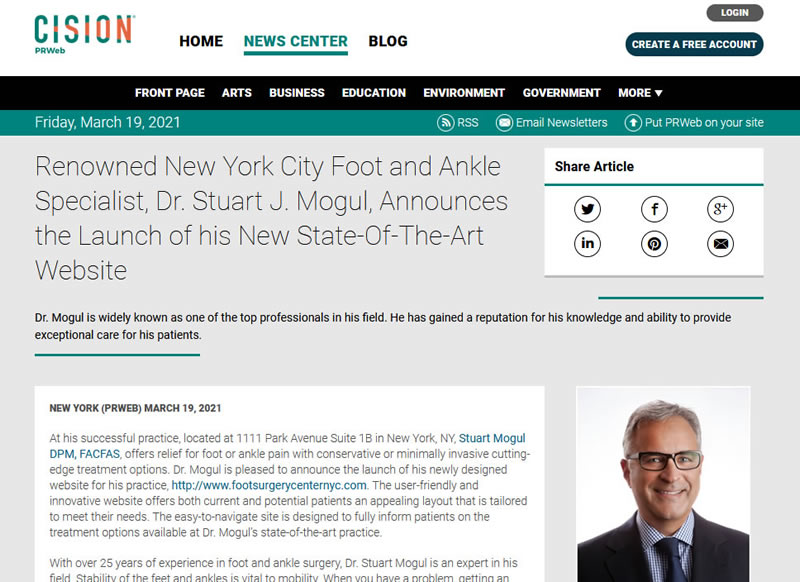 Screenshot of an article - Renowned New York City Foot and Ankle Specialist, Dr. Stuart J. Mogul, Announces the Launch of his New State-Of-The-Art Website