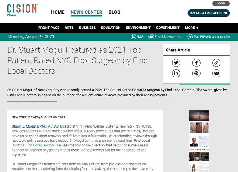 Screenshot of an article - Dr. Stuart Mogul Featured as 2021 Top Patient Rated NYC Foot Surgeon by Find Local Doctors