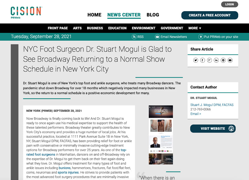 Screenshot of an article - NYC Foot Surgeon Dr. Stuart Mogul is Glad to See Broadway Returning to a Normal Show Schedule in New York City